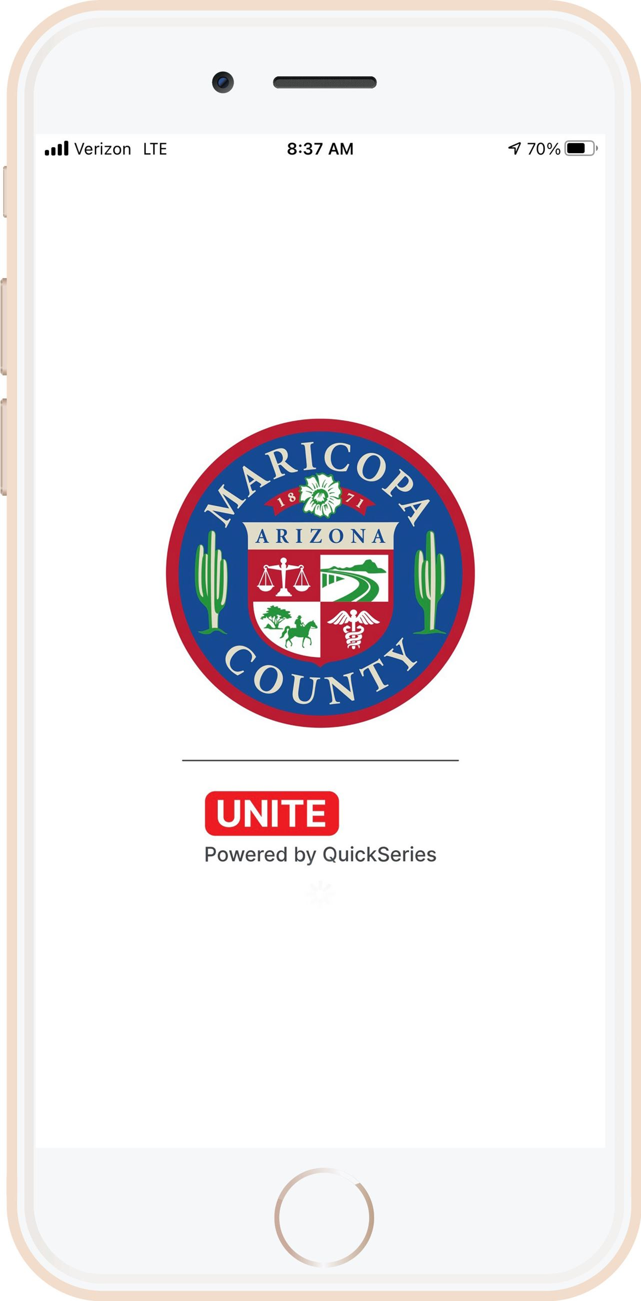 iPhone with Ready.Maricopa.Gov App opening screen