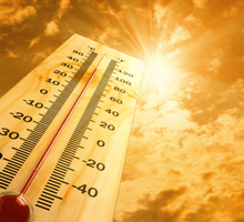 high thermometer and bright sun